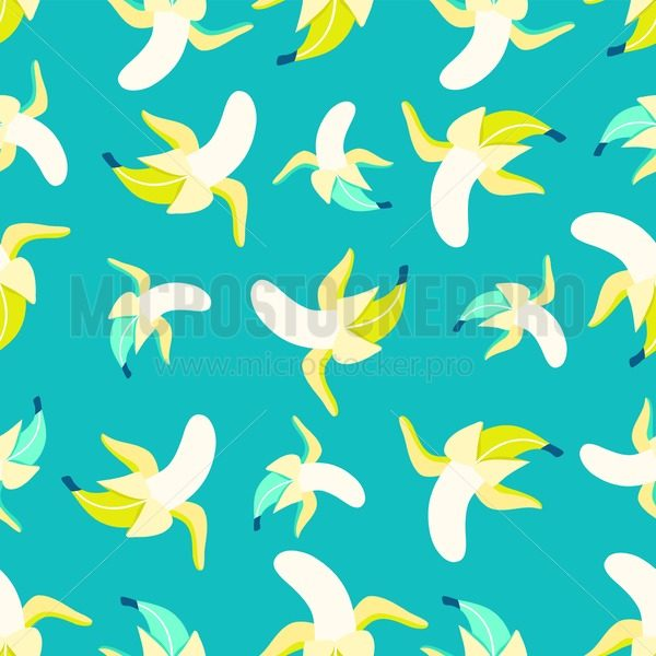 Bananas pattern in flat style. Sweet and colorful summer background. Vector illustration - Vector illustrations for everyone | Microstocker.Pro