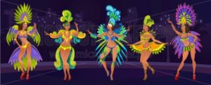 Carnaval design concept with dancing women.Festive background for carnaval event in Brazil. Festive poster with carnival dancers in costumes. Vector illustration - Vector illustrations for everyone | Microstocker.Pro