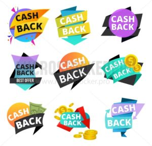 Cash back stickers and banner set. Money icons and tags for cash back isolated on white background. Vector illustration - Vector illustrations for everyone | Microstocker.Pro