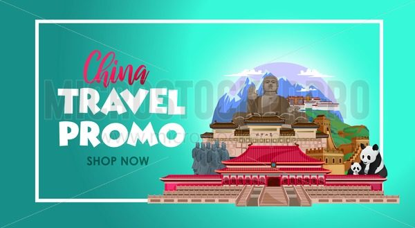 China travel concept with top places to visit. Travel promo Asia. Vector travel banner design concept. - Vector illustrations for everyone | Microstocker.Pro