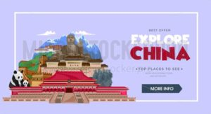 China travel concept. Beautiful China travel destinations. Explore Asia trip illustration. Vector travel design concept. - Vector illustrations for everyone | Microstocker.Pro