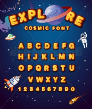 Colorful alphabet style with space elements. Space yellow font style with planets, astronaut, stars and spaceship. Cute alphabet style for invitations, greeting cards etc. Vector cartoon illustration - Vector illustrations for everyone | Microstocker.Pro