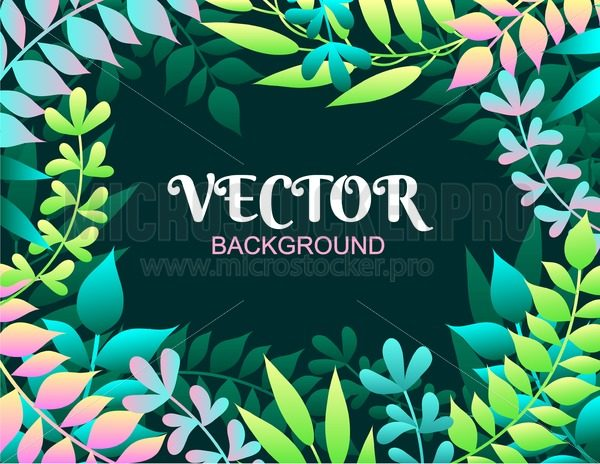 Colorful spring background with leaves. Vector illustration for summer of spring invitations, posters, greeting cards etc. - Vector illustrations for everyone | Microstocker.Pro