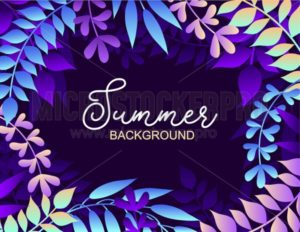 Colorful summer background with leaves. Vector illustration for summer of summer invitations, posters, greeting cards etc. - Vector illustrations for everyone | Microstocker.Pro