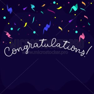 Congratulations banner design in flat style with confetti, ribbons and lettering. Greeting card design template. Vector illustration - Vector illustrations for everyone | Microstocker.Pro