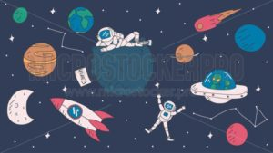 Cute space exploration doodles. Space elements: stars, rockets, astronauts, planets etc. Vector illustration - Vector illustrations for everyone | Microstocker.Pro
