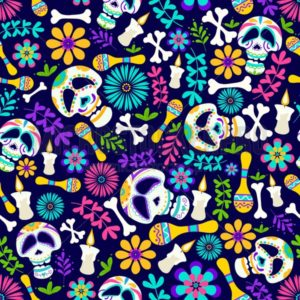 Day of the dead seamless pattern with candles, flowers, skeleton etc. Cheerful dia de los muertos card in cartoon style. Mexican holiday Day of the dead sugar skull pattern. Traditional mexican vector illustration - Vector illustrations for everyone | Microstocker.Pro