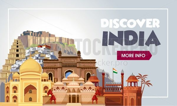Discover India travel banner. Trip to India design concept. India travel illustration. Travel promo banner. Vector India destinations. - Vector illustrations for everyone | Microstocker.Pro
