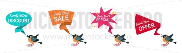 Early bird discounts and sales banners set isolated on white background. Early bird promotions. Vector illustration - Vector illustrations for everyone | Microstocker.Pro