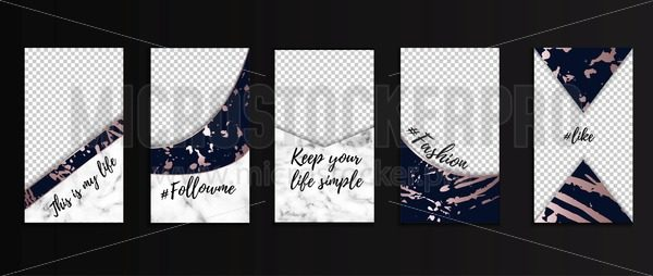 Editable stories templates for bloggers, business, etc. Social networks design concepts with marble texture, navy blue and rose gold colors. Trendy vector illustration for instagram. - Vector illustrations for everyone | Microstocker.Pro