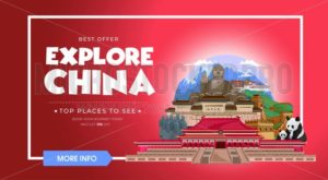 Explore China travel banner design. Asia travel design concept. Vector travel banner. - Vector illustrations for everyone | Microstocker.Pro