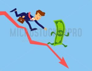 Financial crisis concept. Money loss. Money inflation vector design. Businessman chasing money. Stock crash cartoon illustration - Vector illustrations for everyone | Microstocker.Pro