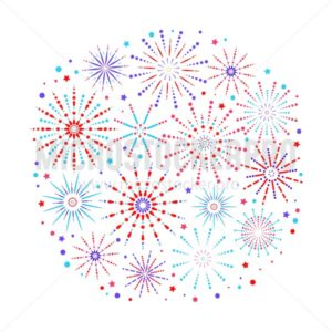 Fireworks background in flat style isolated on white background. Celebration design for holidays. Winner banner, festival decorations. Vector illustration - Vector illustrations for everyone | Microstocker.Pro