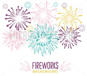 Fireworks collection isolated on white background. Colorful festive firework background. Vector illustration - Vector illustrations for everyone | Microstocker.Pro