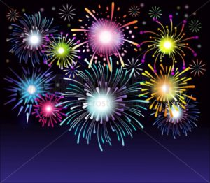 Fireworks collection. Colorful festive firework background. Vector illustration - Vector illustrations for everyone | Microstocker.Pro