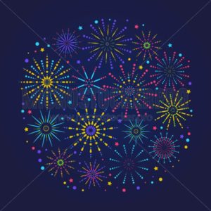 Fireworks composition for festival, holiday or winner poster. Trendy congratulations banner with fireworks in linear style. Greeting card composition. Vector illustration - Vector illustrations for everyone | Microstocker.Pro