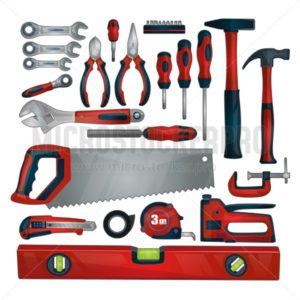 Hand tools icon set isolated on white background. Working tools and instruments collection for repair, construction and building. DIY tools. Vector hand tools set. - Vector illustrations for everyone | Microstocker.Pro