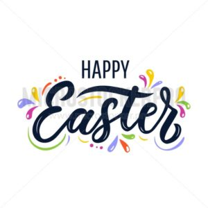 Happy Easter lettering greeting card. Colorful design for Easter cards, poster, invitations etc. Vector illustration - Vector illustrations for everyone | Microstocker.Pro