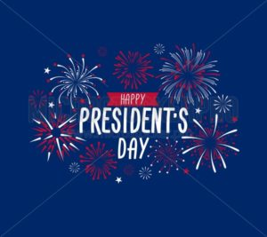 Happy President's day greeting card with fireworks. USA national holiday greetind card. Happy President's day vector illustraion design concept. - Vector illustrations for everyone | Microstocker.Pro