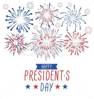 Happy President's day greeting card with fireworks. USA national holiday greetind card. Happy President's day vector illustraion design concept with fireworks isolated on white background. - Vector illustrations for everyone | Microstocker.Pro