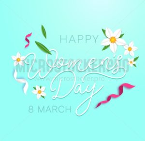 Happy women's day greeting card with flowers, ribbons and cute background. International women's day greeting card.Vector illustration - Vector illustrations for everyone | Microstocker.Pro