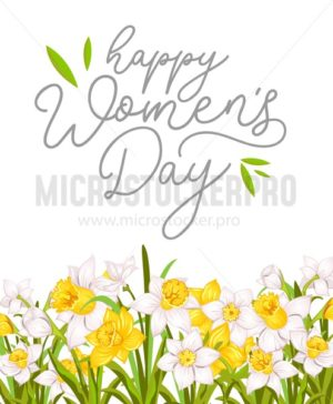 Happy women's day greeting card with narcissus and white background. International women's day greeting card.Vector illustration - Vector illustrations for everyone | Microstocker.Pro