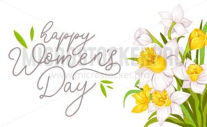 Happy women's day greeting card with narcissus and white background. International women's day greeting card.Vector illustration - Vector illustrations for everyone   Microstocker.Pro