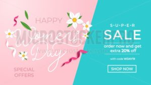 Happy women's day sale banner with greeting card. International women's day promotion.Vector illustration - Vector illustrations for everyone | Microstocker.Pro
