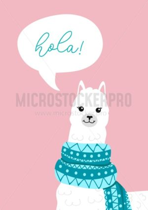 Inspirational poster with cute alpaca head and lettering. Llama hand drawn greeting card or poster design. Vector illustration - Vector illustrations for everyone | Microstocker.Pro