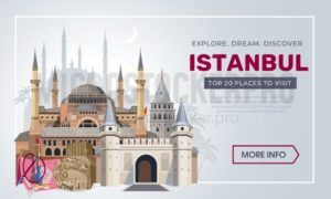 Istanbul travel banner design template. Turkey vacation and Travel concept. Istanbul travel destinations. Vector travel illustration for Turkey. - Vector illustrations for everyone | Microstocker.Pro