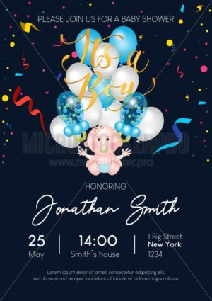 It's a boy cute baby shower invitation with balloons, confetti and lettering. Baby boy balloons on blue background. Vector baby shower illustration - Vector illustrations for everyone | Microstocker.Pro