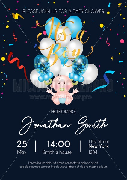 It's a boy cute baby shower invitation with balloons, confetti and lettering. Baby boy balloons on blue background. Vector baby shower illustration - Vector illustrations for everyone   Microstocker.Pro