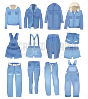 Light blue denim clothing. Jeans, jacket, shorts, overalls and skirt. Ripped jeans set. Vector denim illustration - Vector illustrations for everyone | Microstocker.Pro