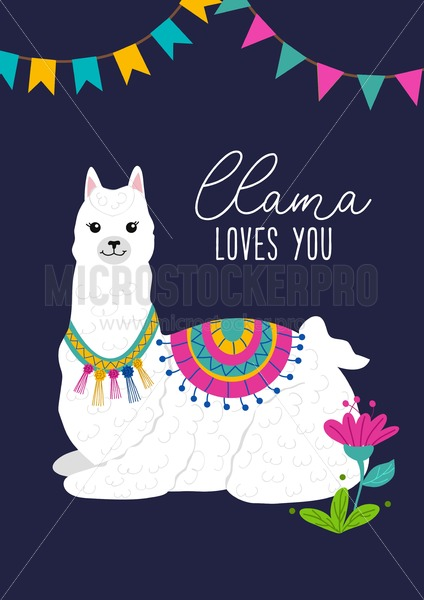 Llama loves you inspirational inscription with hand drawn llama and doodles. Cute vector alpaca illustration for greeting cards, posters, invitations, textile etc. - Vector illustrations for everyone | Microstocker.Pro