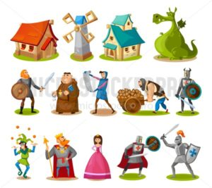 Medieval characters and buildings collection. Cartoon knights, princess, king, dragon, buildings etc. Vector fairy tale objects. - Vector illustrations for everyone | Microstocker.Pro