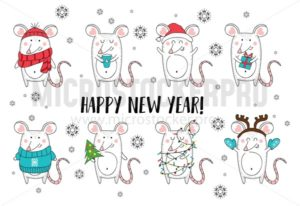 New year and Christmas rat characters.Christmas animals simple illustration for greeting cards, calendars, prints etc. Hand draw mouse for Christmas design. Vector illustration - Vector illustrations for everyone | Microstocker.Pro