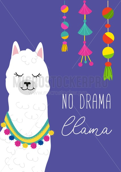 No drama llama inspirational inscription with hand drawn llama and doodles. Cute vector alpaca illustration for greeting cards, posters, invitations, textile etc. - Vector illustrations for everyone | Microstocker.Pro
