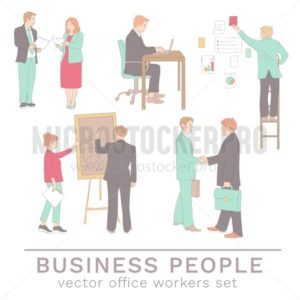 Office people concepts in line drawing style. Set of colleagues isolated on white background. Vector business characters illustration - Vector illustrations for everyone | Microstocker.Pro