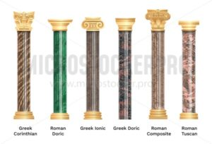 Realistic ancient pillars set isolated on white background. Different architecture pillars with stone effect. Classical columns vector set. - Vector illustrations for everyone | Microstocker.Pro