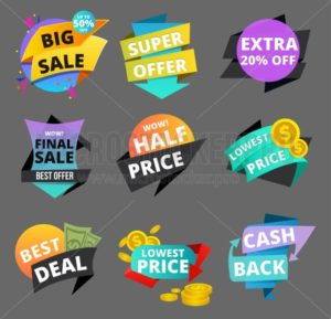 Sale and discount banners set. Colorful discount collection isolated on grey background. Shopping elements for flyer, banner etc. Vector illustration - Vector illustrations for everyone | Microstocker.Pro
