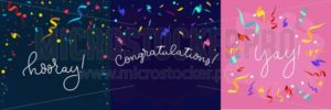 Set of banners in flat style with confetti and lettering. Congratulations design template with ribbons in flat style. Hooray lettering with decorative elements. Vector greeting banners set. - Vector illustrations for everyone | Microstocker.Pro