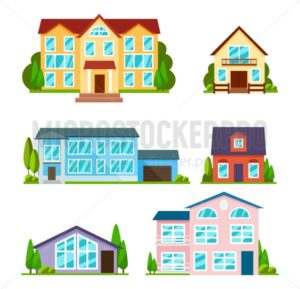 Set of city buildings in flat style. Modern houses, school and university. Residential houses exterior. Townhouses and apartment facade view. Vector illustration - Vector illustrations for everyone | Microstocker.Pro