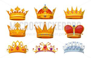Set of colorful crowns in cartoon style. Royal crowns from gold for king, queen and princess.Crown awards collection for winners in game. Royal crown vector set isolated on white background - Vector illustrations for everyone | Microstocker.Pro