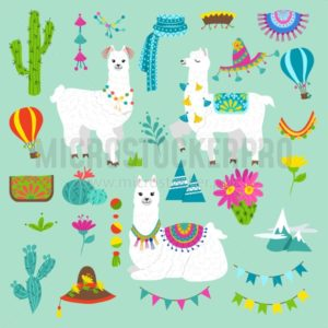 Set of cute alpacas and hand drawn elements. Llamas and cacti vector illustration. Summer design elements for greeting cards, baby shower, invitation, posters etc. - Vector illustrations for everyone | Microstocker.Pro
