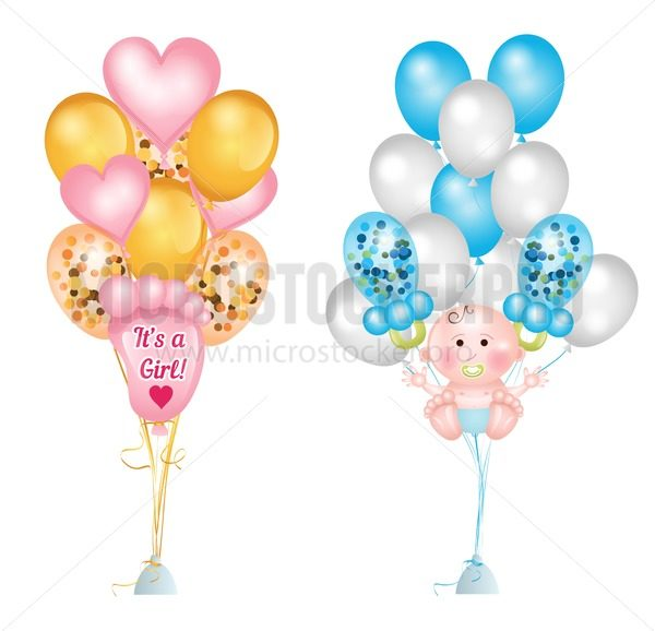 Set of cute balloons for baby shower. Baby footprints, baby boy, baby pacifier, heart balloons and balloons with confetti. Vector greeting balloons set isolated on white background - Vector illustrations for everyone | Microstocker.Pro
