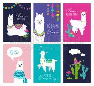 Set of cute card with alpacas. Inspirational llamas posters with colorful design and inspirational quotes. Llama loves you. No drama llama. Hola! You are llamazing. Vector llama illustration - Vector illustrations for everyone | Microstocker.Pro