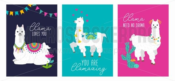 Set of cute card with alpacas. Inspirational llamas posters with colorful design and inspirational quotes. Llama loves you. No drama llama. You are llamazing. Vector llama illustration - Vector illustrations for everyone | Microstocker.Pro