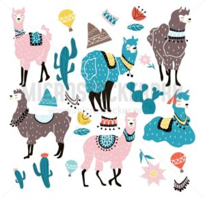 Set of hand drawn alpacas in scandinavian style. Llama illustration with decorative elements. Vector illustration - Vector illustrations for everyone | Microstocker.Pro