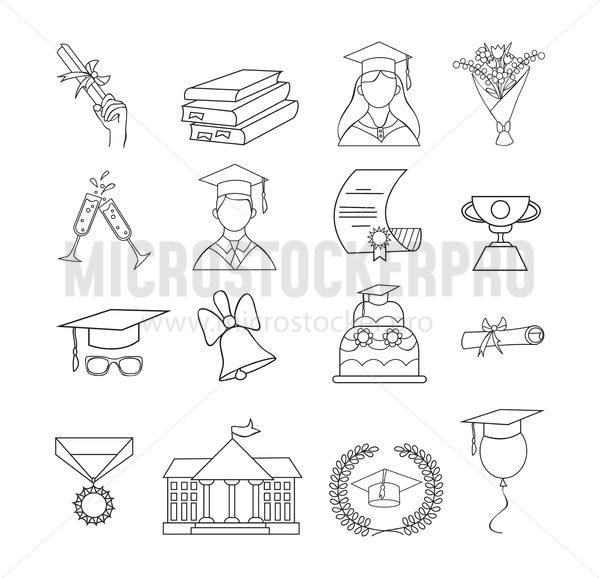 Set of icons for graduation. Linear graduation elements for invitations, posters, greeting cards etc. Graduation icon vector set. - Vector illustrations for everyone   Microstocker.Pro