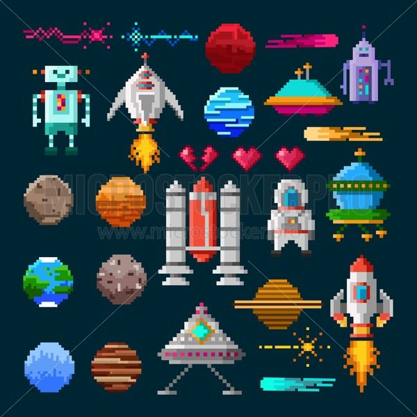 Set of pixel art elements for space war game. Pixel planets, spaceships, aliens, astronaut, fire etc. Vector illustration for games in retro style. - Vector illustrations for everyone | Microstocker.Pro
